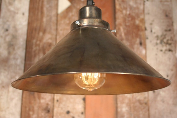 Pub Pendant light, 12 inch Brass Shade with Edison Bulb, Industrial, Modern Styling