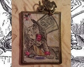 "Alice in Wonderland ""Mad Hatter"" Pendant with Sugar Bowl Charm"