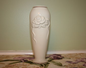 Vintage Lenox Small Vase Rose Blossom pattern Cream Ivory China color with 24 karat gold trim