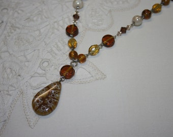 Sahara Caramel Toffee Glass Pendant Beaded Crystal Glass Necklace Handmade Beige Brown Taupe Amber Pearl