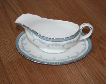 Vintage Aynsley Kenmore Gravy Boat with Saucer Fine Bone China Made in England White with Blue and Silver Leaf pattern