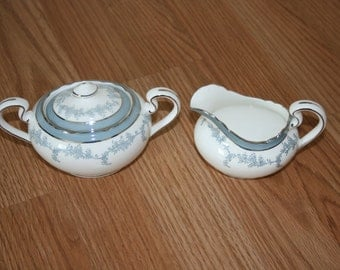Vintage Aynsley Kenmore Creamer and Covered Sugar Fine Bone China Made in England White with Blue and Silver Leaf pattern