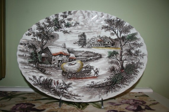 Large Oval Platter Yorkshire Straffordshire Ironstone China Bringing in the Hay Thanksgiving Turkey