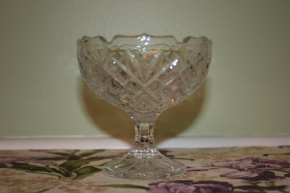 Vintage Princess House Cut Crystal Footed Candy or Jewelry Dish Made in Germany SCT
