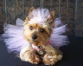 Pretty in Pink Crochet Doggie TuTu dress Hair bow included