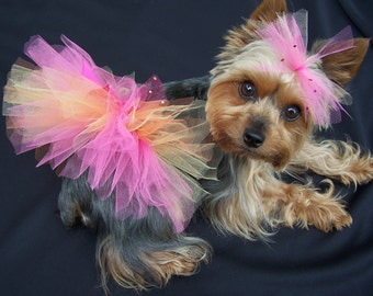 Dog Tutu in Any Color  You choose small-large  size  -matching hairbow included
