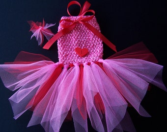 Dog TuTu Dress for toy breeds in Red and pink with Shimmer tulle -Hair bow included