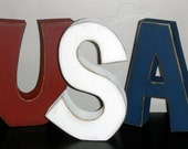 USA wooden letters for Fourth of July Decor.