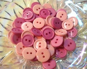 50 buttons-  15 mm -in pale and dark pink - lot- rp04