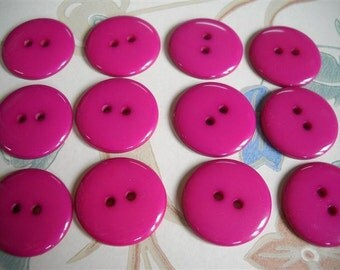"""15 pcs Pink Magenta Buttons- 22 mm - 7/8"""" - Two Hole-"""
