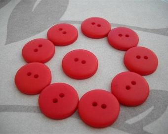 20 pcs - Red Orange -Opaque Matte  Buttons 20mm