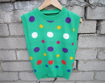 Vintage 1980s Spotted Sweater Vest in Green Colorway size XS-S