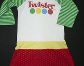 Clearance Sale Twister upcycled recycled repurposed girls t-shirt dress from TWINKLE size 4 5