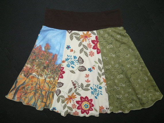 Perfect Little Hippie Skirt upcycled t-shirt clothing from TWINKLE women size Small Medium