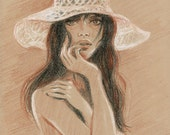 Woman in white hat - Original Conte Pencil Drawing on beige paper 8.5x11