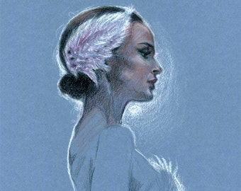 Pastel Colored Pencil Drawing - Natalie Portman Black Swan