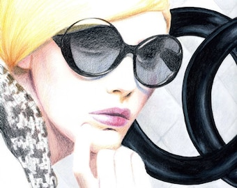 Pencil Drawing Fashion Illustration - Chanel Sunglasses