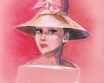 Audrey Hepburn Pink Hat - Print of Pastel Drawing