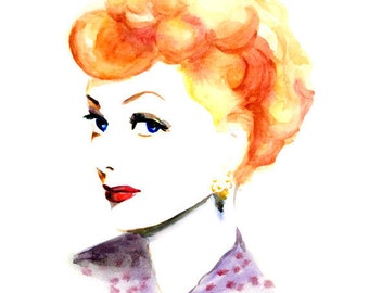 Watercolor portrait - Lucy Lucille inspired - Red Hair - Orange
