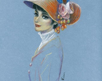 Original Pastel drawing - Audrey Hepburn My Fair Lady - 9x12