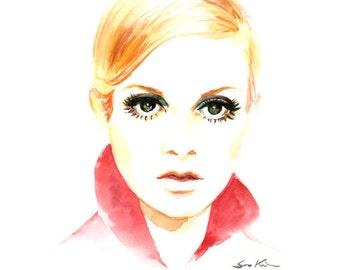 Twiggy Watercolor Portrait Print, Fashion Modeal Illustration