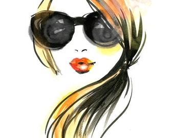 Fashion illustration art print - Girl in Sunglasses
