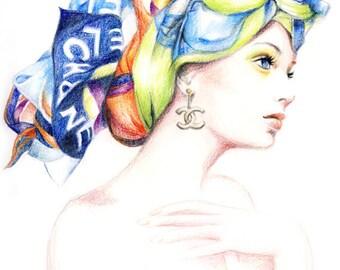 Chanel Scarf Fashion Illustration Colored pencil Drawing Print
