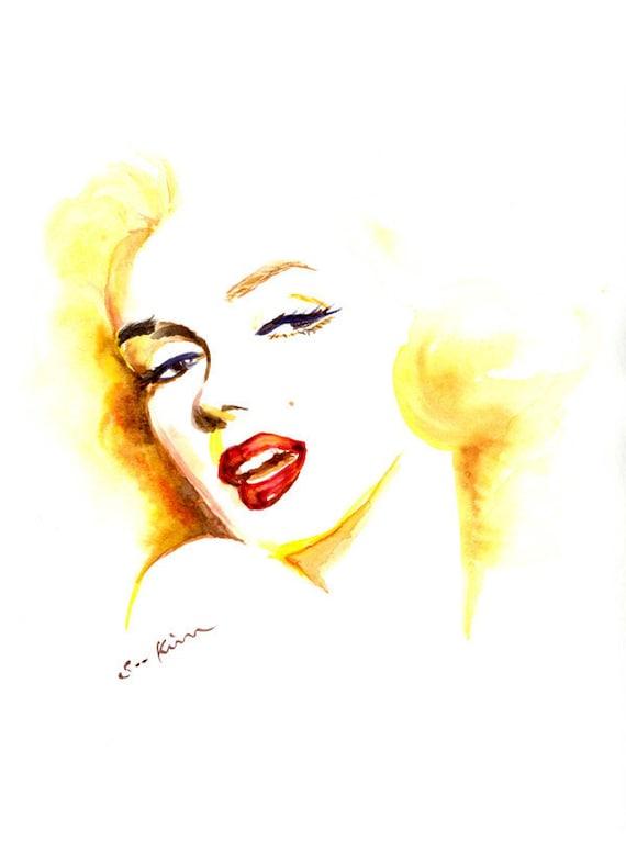 Marilyn Monroe Watercolor Portrait Print