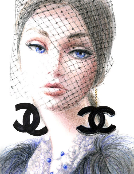 Young lady in Chanel - Print of Original Fashion Inspired Illustration