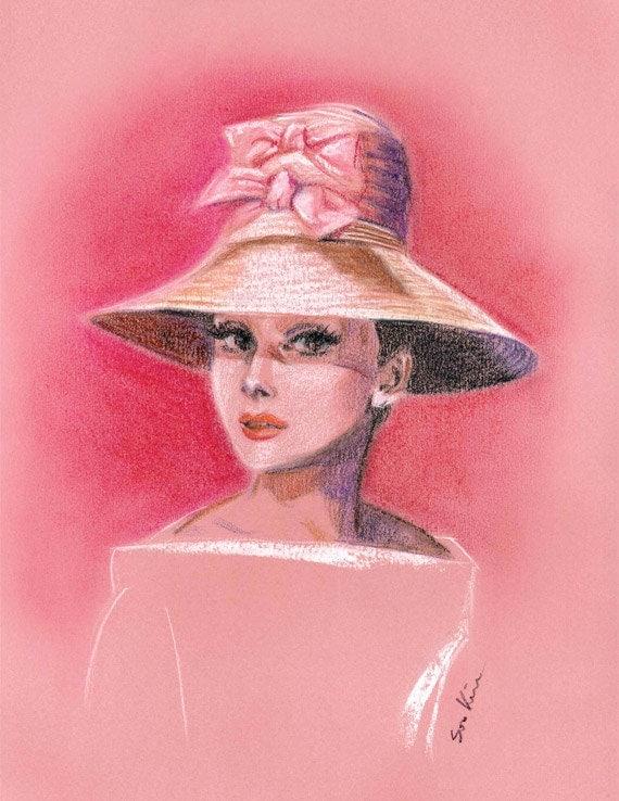 audrey hepburn pink hat print of pastel drawing