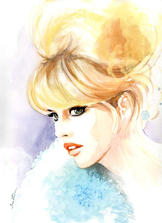 Brigitte Bardot - Blonde Woman Portrait - Watercolor fashion illustration