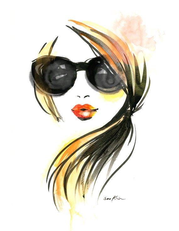 Fashion illustration art print - Girl in Sunglasses
