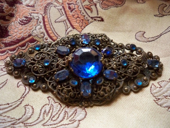 Christmas Sale 20% Off Vintage 1930s Sapphire Blue Czech Glass Filigree Brooch