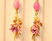 Handmade Vintage Orchid and Pearl Drop Earrings