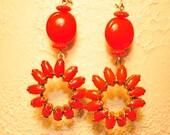 SALE Handmade Vintage Round Red Drop Earrings