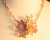 SALE Handmade Vintage Pink  Flower and Rhinestone Necklace