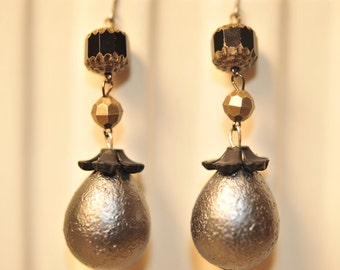Handmade Vintage Charcoal and Brass Earrings