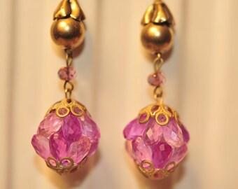 Handmade Vintage Purple Glass Drop  Earrings