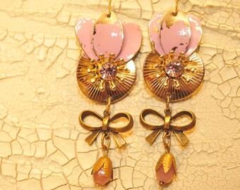 Handmade Vintage Pink Flower Shabby Chic Earrings