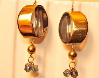 Handmade Vintage Aquamarine  Sliced Bead Earrings