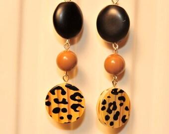 Handmade Vintage Leopard Print Earrings