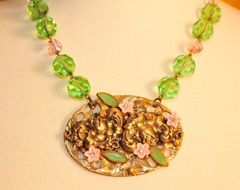 Vintage Green and Pink Necklace