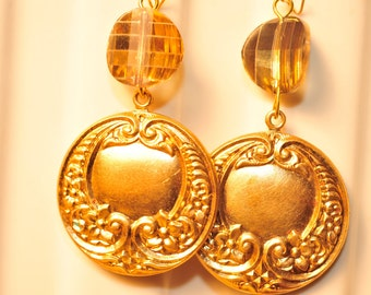 Handmade Vintage Ornate Brass and Champagne Drop Earrings