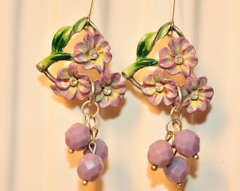 Handmade Vintage Lavender Flower Earrings