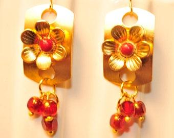 Handmade Vintage Red and Brass Flower Dangle Earrings