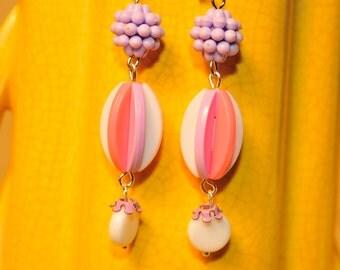 SALE Handmade Vintage Pink and Lavender Pinwheel Earrings