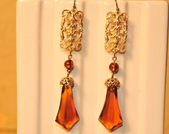 Handmade Vintage Topaz Filigree Earrings