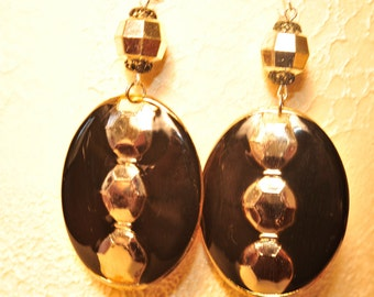 Handmade Vintage Black and Silver Earrings