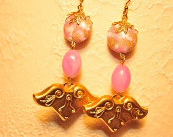 Handmade Vintage Orchid Pink and Brass Drop Earrings