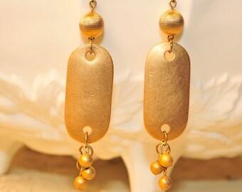 SALE Handmade Vintage Brass Tag Earrings